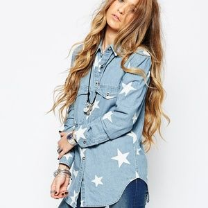 2X Chambray Denim Star print Shirt
